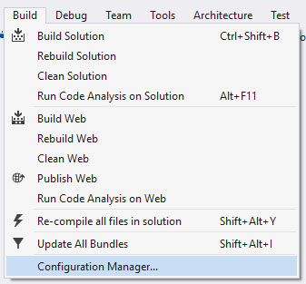 В меню Visual Studio пункт Build -> Configuration Manager…