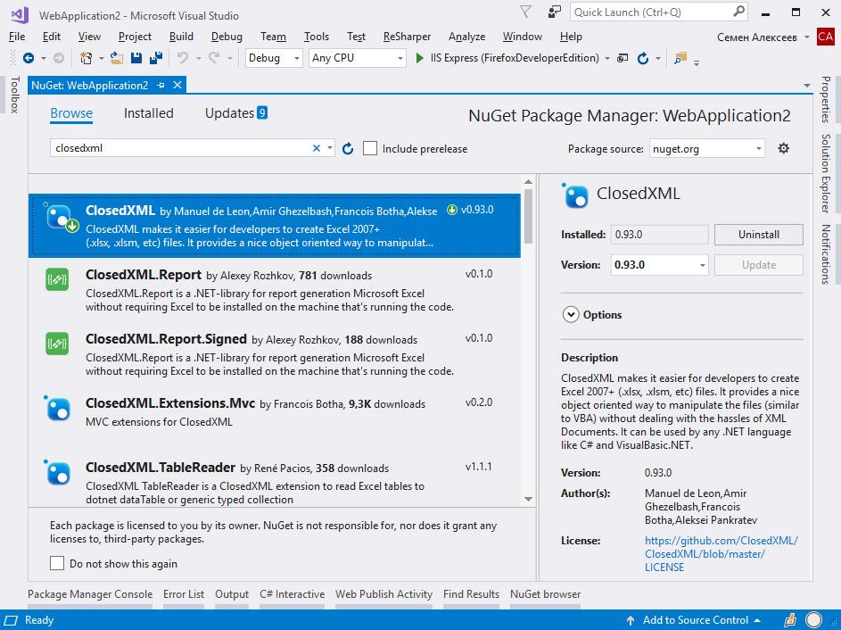 Работа с MS Excel на ASP NET MVC  Импорт и экспорт файлов